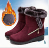 Women's Winter Warm Suede Ankle Snow Boots Fur Thicken Flats Casual Cotton Shoes