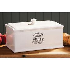 Vintage Home Ceramic Bread Crock Cream Bread Loaf Storage New