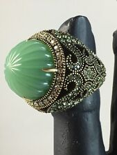 "HEIDI DAUS  ""Fascinating Fluted"" Jade Color Carved Cocktail Ring ~ Size 7"