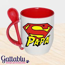 Tazza mug con cucchiaino Super Papà, idea regalo per la festa del papà! Rossa!