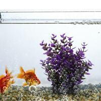 Water Plant Ornament for Fish Tank Artificial Aquarium Violet Landscape 7x7x25cm