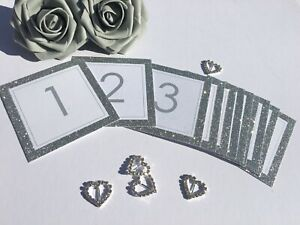 Silver Glitter 1-12 Wedding Table Number White