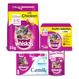 Whiskas Kitten Complete Dry Food, Food Pouches, Cat Milk & Treats Bundle of 4
