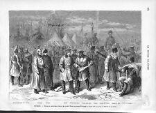 Russie Tenue de Campagne d'Hiver de l'Armée Russe au Camp Kitchinev GRAVURE 1876