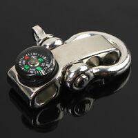Steel Adjustable Buckle Paracord  Survival Bracelet New Shackle W/ Compass LH