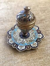 Antique French Champleve~Enameled Bronze Inkwell