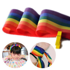Women Rainbow Stripes Headband Bandana Scarf Disco Hair Tie Boas Party Acc Decor