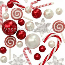 Christmas Candyland: Red & White Pearls+Lollipop Vase Decorations &Table Scatter
