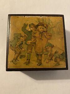 Orig./Stunning! pre-1900 Brook's Glace Thread *WOODEN BOX* w/ Children in Winter