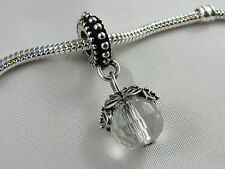 CLEAR FACETED CRYSTAL DANGLE CHARMS IN SILVER CASING EURO STYLE CHARM BRACELETS
