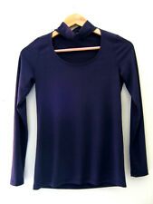 NWT DREW Designer Navy Blue Sexy Striped Ribbed Long Sleeve Knit Top XS $138