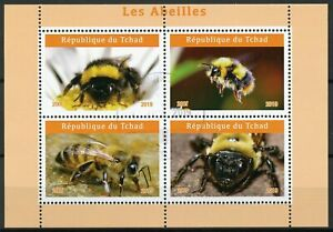 Chad 2019 CTO Bees Bee 4v M/S II Abeilles Insects Stamps