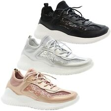 Ladies Sneakers Womens Plimsolls Lace Up Trainers Flats Sequins Pumps Shoes Size