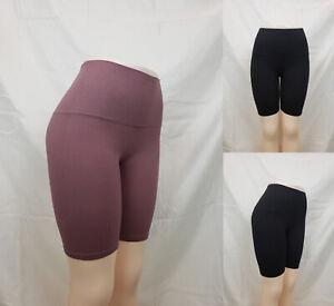 WOMEN SOLID BASIC SEAMLESS HIGH WAIST STRETCH LEGGING SHORTS SM71115-1