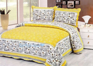 Gray Floral Yellow Bed Quilted Bedspread Coverlet Throw Blanket 100%Cotton