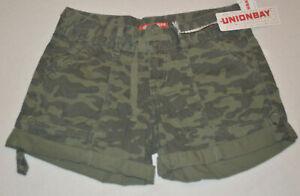Women's Unionbay Montana Green Camouflage Lightweight Shorts Sizes 3,5,7,9,15,17