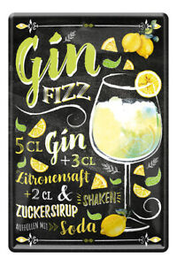 Gin Fizz Cocktail Drink Zutaten Rezept Retro Deko Bar Blechschild 20x30cm A0594