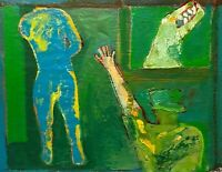 OUTSIDER URBAN STREET ABSTRACT EXPRESSIONIST MODERNIST FIGURE PORTRAIT PAINTING