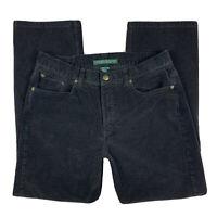 LRL Lauren Jeans Co. Ralph Lauren Women 10 Corduroy Pants Straight Leg Black