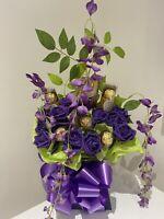 FERRERO ROCHER LINDT PURPLE ROSE FLOWER BOUQUET GIFT ANNIVERSARY BIRTHDAY