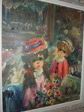 M. Keane- like painting by Bonomino, Girls in Paris, Big Eyes, OOC, 22 x 19