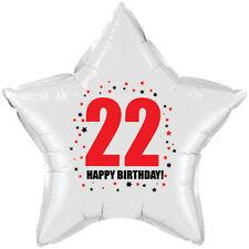 22ND BIRTHDAY STAR BALLOON 18 INCH MYLAR BIRTHDAY PARTY SUPPLIES