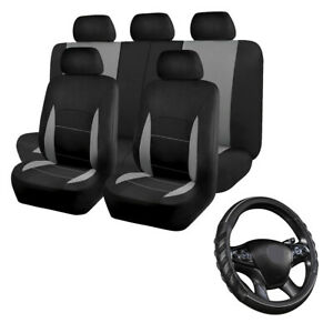 Car Seat Covers Set Universal Rear Split & Grey Car Steering Wheel Cover Leather