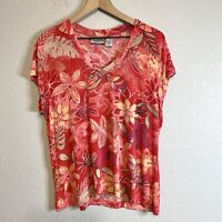 Chicos Travelers Women's 3 = XL Floral Short Sleeve Top V-Neck Stretch Slinky