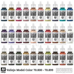 Vallejo Model Color Paints Acrylic War Colours 17ml Bottle 70.800 to 70.999
