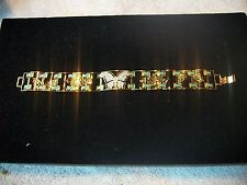 BOB MACKIE Bracelet EXCITING Crystal Butterfly Green & Black Enamel Goldtone NEW