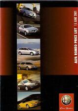 Alfa Romeo Prices & Specification 2001 UK Market Brochure 147 156 GTV Spider 166