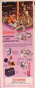1974 Schwinn Bike Accessories~Brass Bugle Horn~Tool Bag Bicycle Parts Paper AD