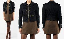 JUICY COUTURE Women Fashion Black Skylar Twill Military Biker Cropped Jacket