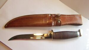 CASE Fixed Blade Hunting Knife w/ Original Leather Sheath stacked leather handle