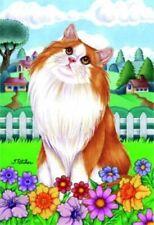 New listing Spring House Flag - Orange Norwegian Forest Cat 76004