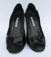 MANOLO BLAHNIK Black Patent Leather Open Toe Scalloped Trim Pumps Heels 41.5 41