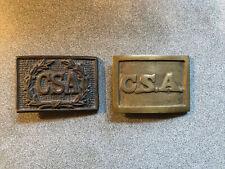 "New listing Lot Of 2 Csa Confederate Civil War Belt Buckles Reproduction Brass 2.5"" x 1.25"""