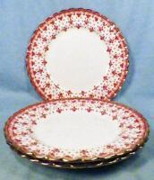 3 Spode Fleur de Lys Salad Plates Y7481 Red Bone China Gold Trim Scalloped Plate