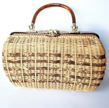 Vintage Lucite Basket Purse Caramel Brown Taupe Weaving Wicker Marbled Gold