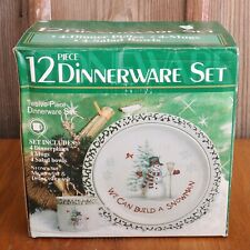 12 Piece Christmas Stoneware Dinnerware We Can Build A Snowman In Original Box