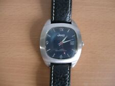 Mens Jeep Black Face Watch with Leather Strap Good Working Order - S87