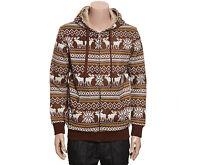 NII Mens Casual Nordic Pattern Fleece Zip Up Hoodie Jacket Brown Size M NWT.