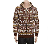 NII Mens Casual Nordic Pattern Fleece Zip Up Hoodie Jacket Brown Size M NWT.