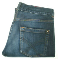 FCUK WOMENS SIZE 8 MEASURED W32 X L33 WIDE LEG BLUE JEANS FREE POST