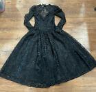 NEW Dance Allure Black Lace VTG Dress Halloween Costume Sz 9/10