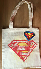 DC Comics Superman Sign Motif Canvas Tote Bag Red + Yellow Shopper NEW with TAGS