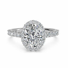 Proposal Oval Halo 1.30 Ct Diamond Engagement Ring 14K White Gold Ring Size 7 8