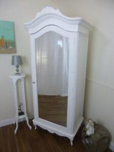 French Charroux Single Armoire Wardrobe In White - Shabby Chic Wardrobe