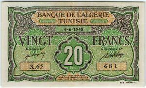 VERY RARE CONDITION!!! Tunisia 20 Francs 1948 🔸UNC🔸 P-22 Banknote - k193