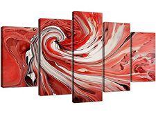 EXTRA Large rossa e bianca Swirl-Astratto Tela Multi 5 Pannello